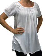 Womans Renaissance blouse pirate top White