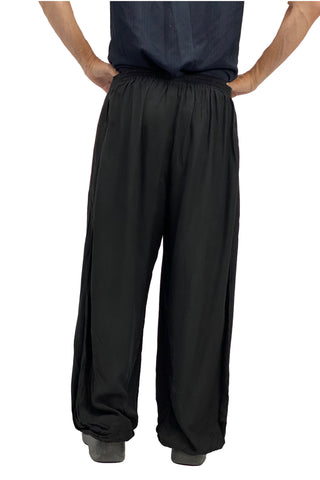 mens renaissance pants pirate pants elastic pocketed pants Black
