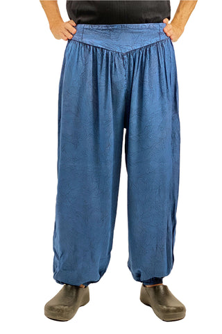 mens renaissance pants pirate pants elastic pocketed pants blue