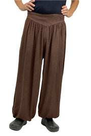 mens renaissance pants pirate pants elastic pocketed pants brown