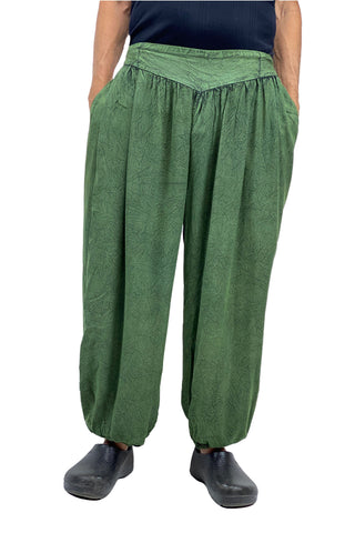 mens renaissance pants pirate pants elastic pocketed pants green