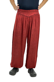 mens renaissance pants pirate pants elastic pocketed pants Red