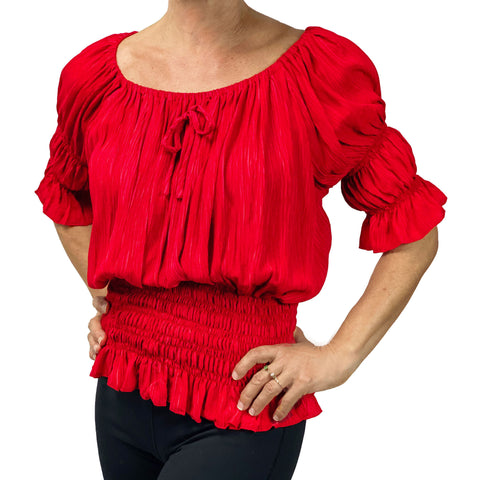 Womans Renaissance Top Pirate Blouse Brt Red