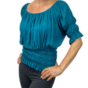 Womans Renaissance Top Pirate Blouse Teal