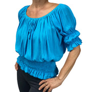 Womans Renaissance Top Pirate Blouse Turquoise