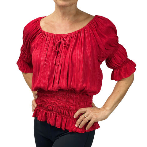 Womans Renaissance Top Pirate Blouse Wine
