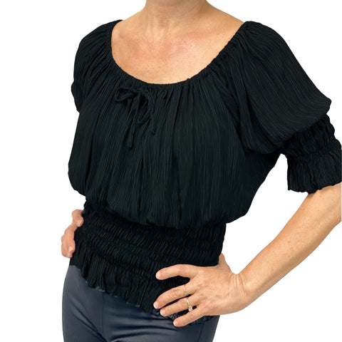 Womans Renaissance Top Pirate Blouse Black