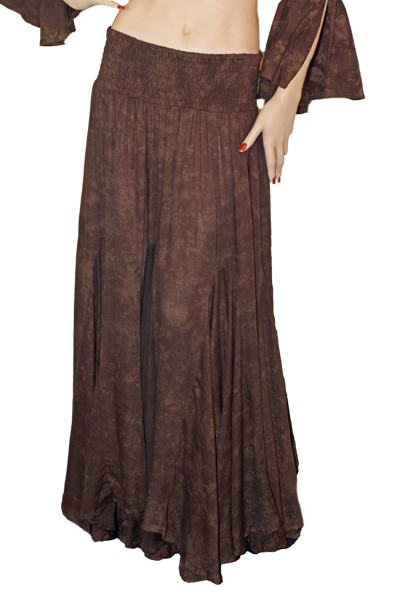 Renaissance Skirt Half Circle Belly Dance Skirt Brown