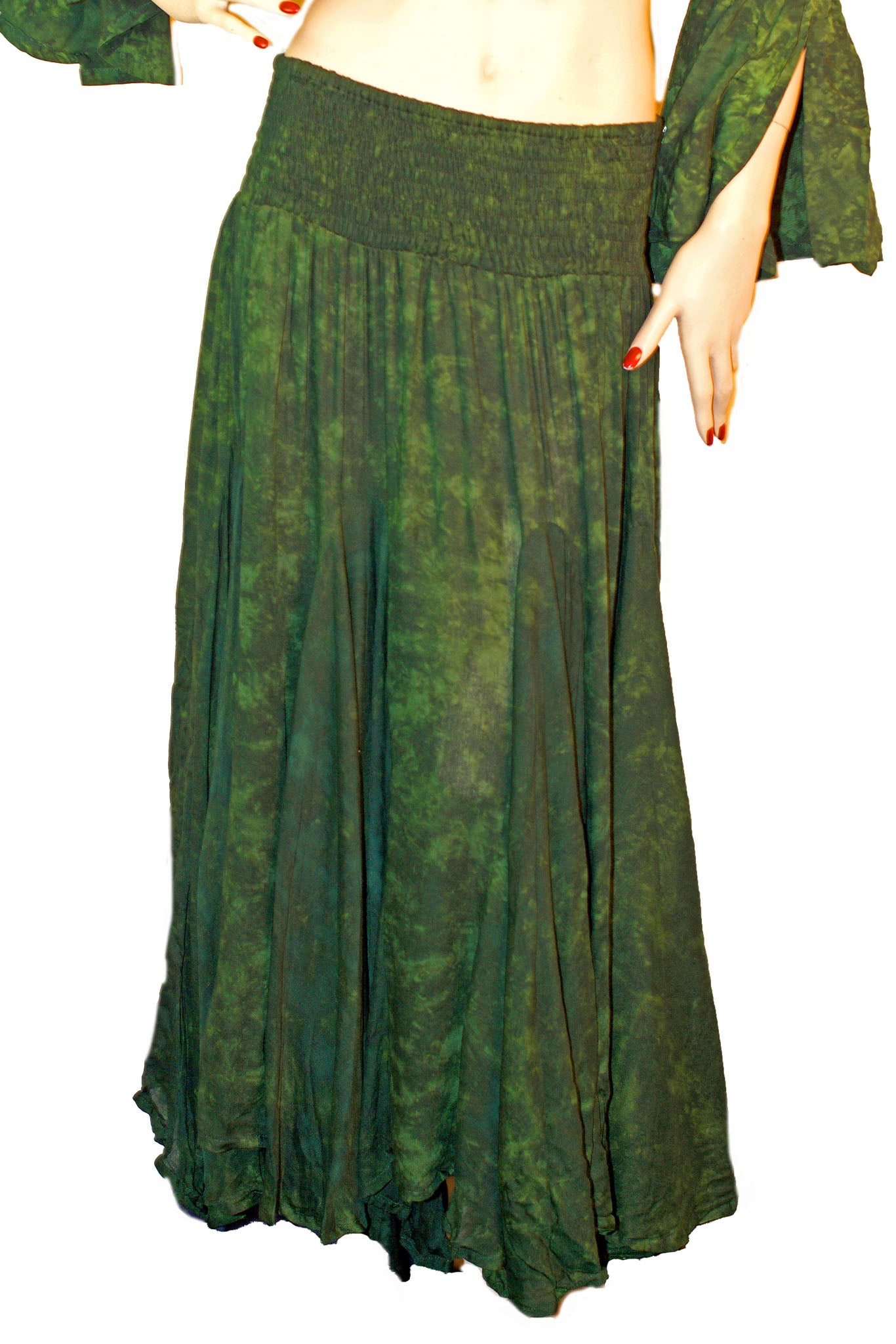 Renaissance Skirt Half Circle Belly Dance Skirt Green