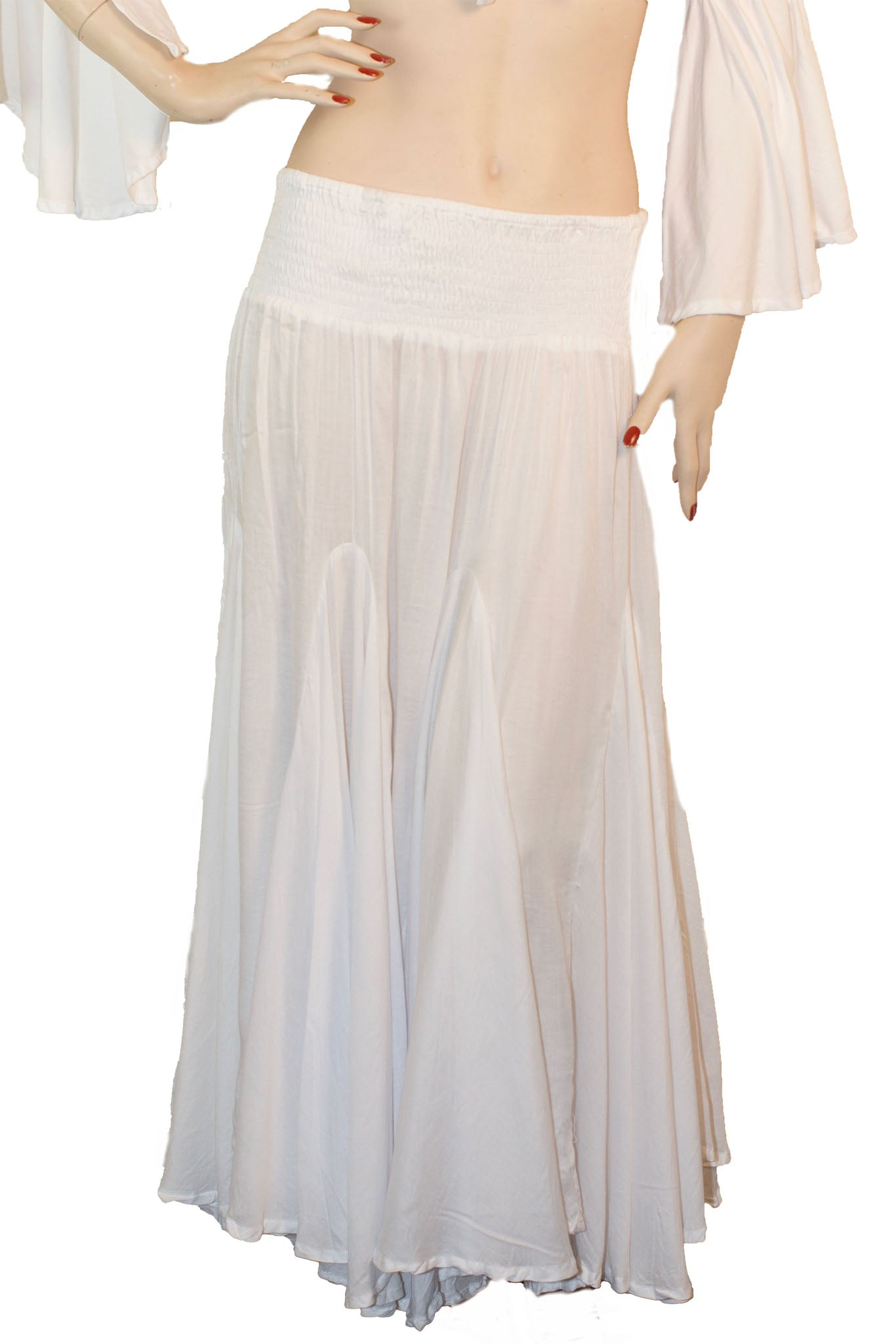 Renaissance Skirt Half Circle Belly Dance Skirt White