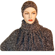 Knit scarf cowl wool hat Black and white