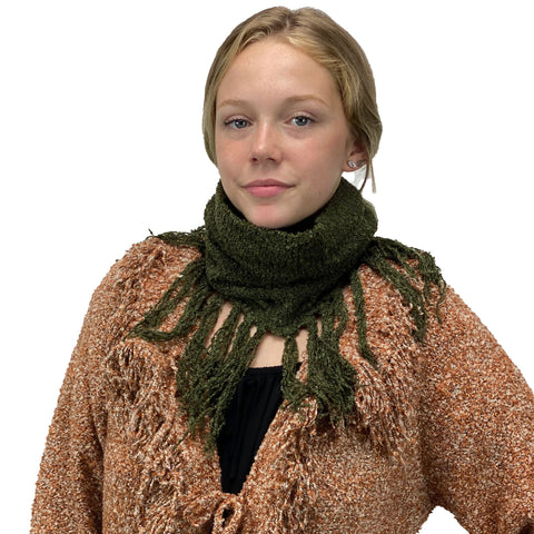 Knit scarf cowl wool hat olive