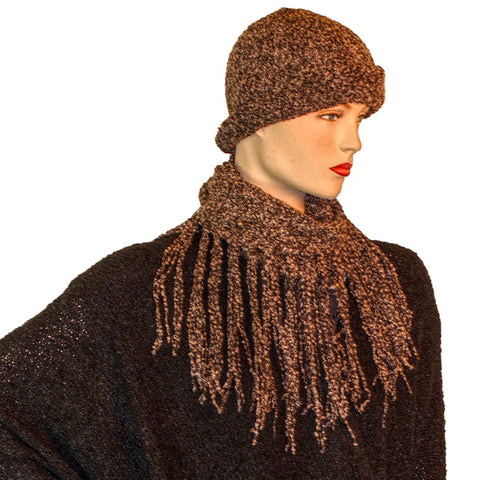 Knit scarf cowl wool hat brown