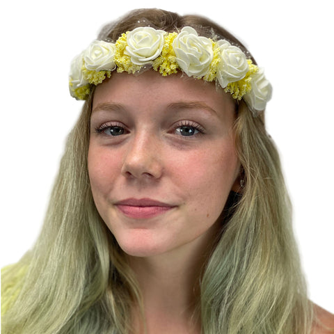 Flower Garland adjustable head piece Cream Yello