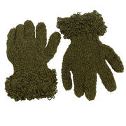 Wool acrylic knit gloves super soft  Olive