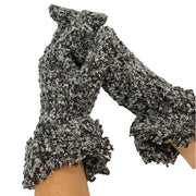 Wool acrylic knit gloves super soft  Black Fleck