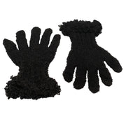 Wool acrylic knit gloves super soft  black
