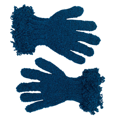Wool acrylic knit gloves super soft  Blue