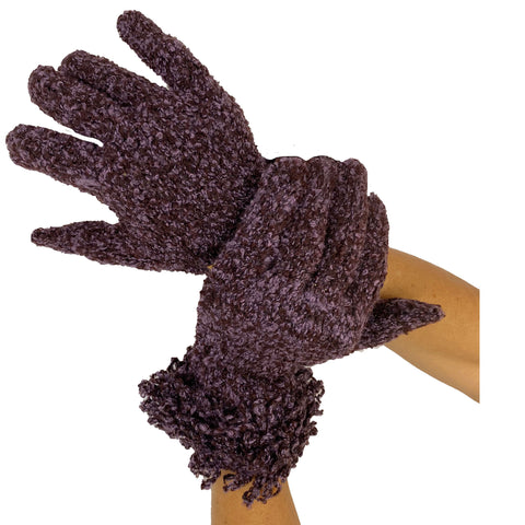 Wool acrylic knit gloves super soft Purple