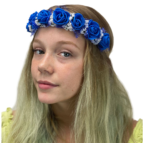 Flower Garland adjustable head piece Blue