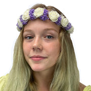 Flower Garland adjustable head piece Cream Purple