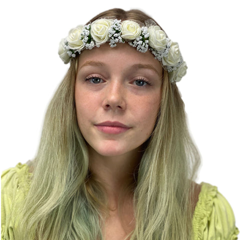 Flower Garland adjustable head piece  Cream