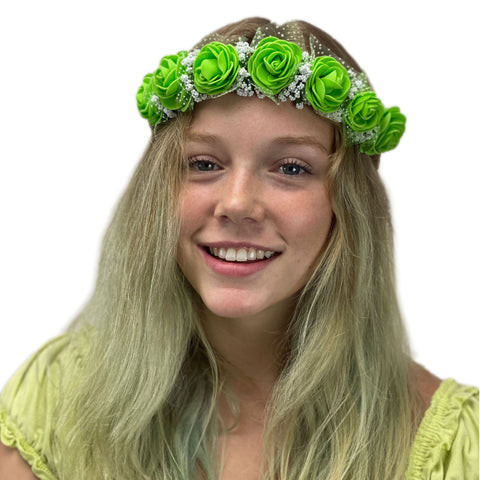 Flower Garland adjustable head piece Green