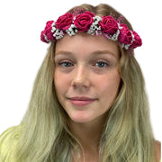 Flower Garland adjustable head piece Magenta