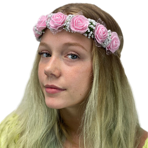 Flower Garland adjustable head piece Pink