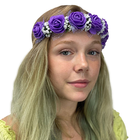 Flower Garland adjustable head piece Purple