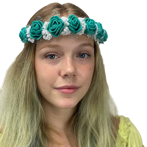 Flower Garland adjustable head piece Teal
