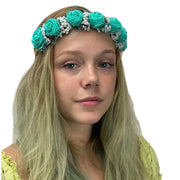 Flower Garland adjustable head piece Turq