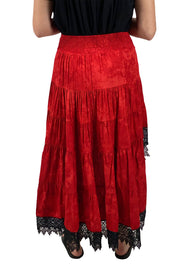 Renaissance Skirt Steampunk Skirt Pirate Skirt Back View Red