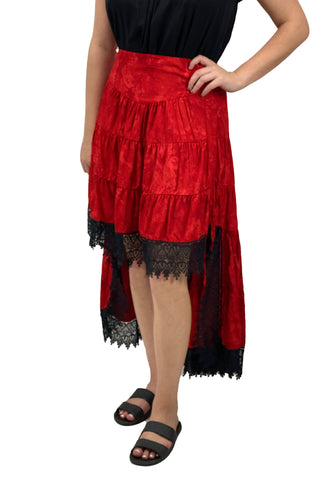 Renaissance Skirt Steampunk Skirt Pirate Skirt Red
