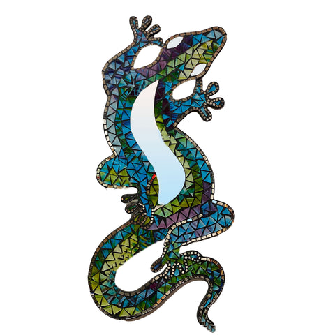 stained glass gecko mirror