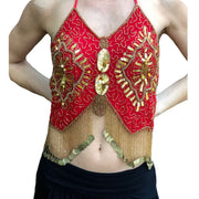 Womans Belly Dance Top Sequin Coin Top rave Top Red Gold