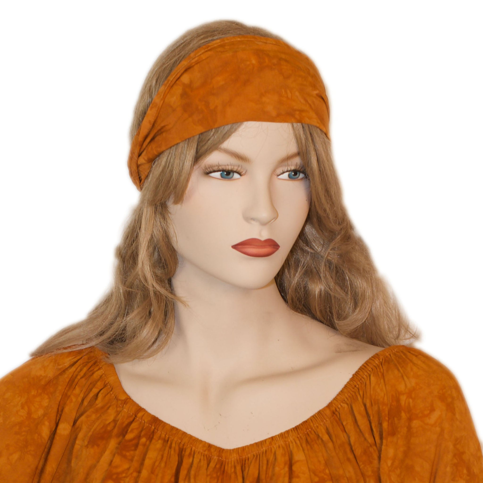 Elastic Hair band stretch Bandana Saffron
