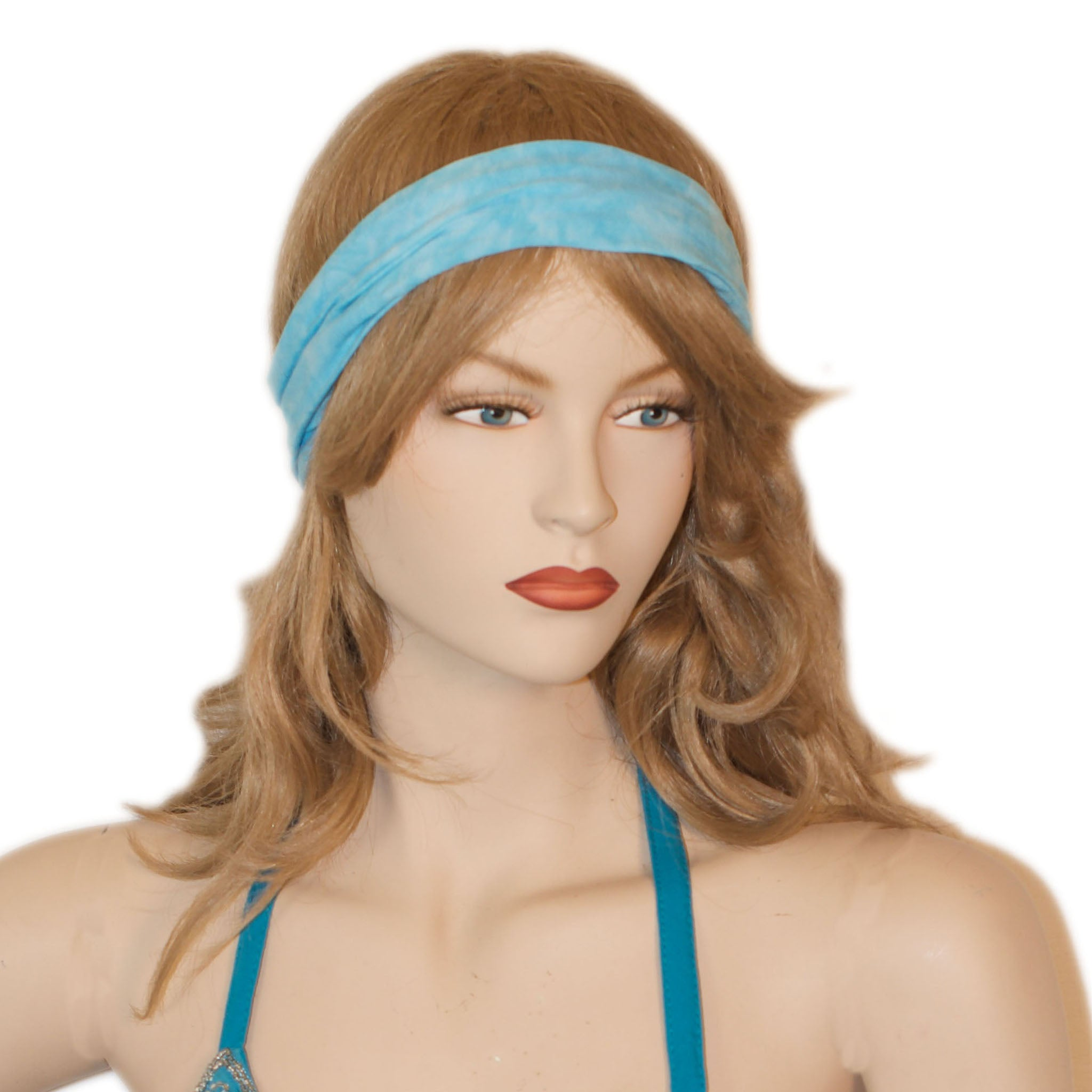 Elastic Hair band stretch Bandana Turquoise