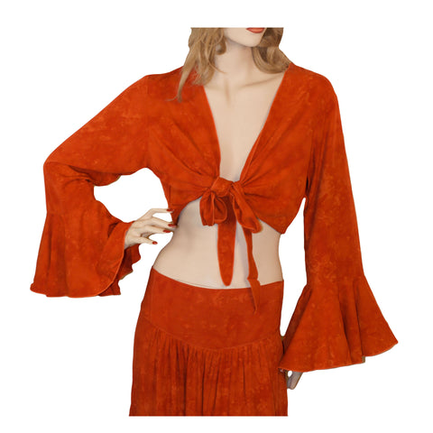 Womans Gypsy Top Renaissance Top Belly Dance Top Orange