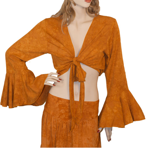 Womans Gypsy Top Renaissance Top Belly Dance Top Saffron