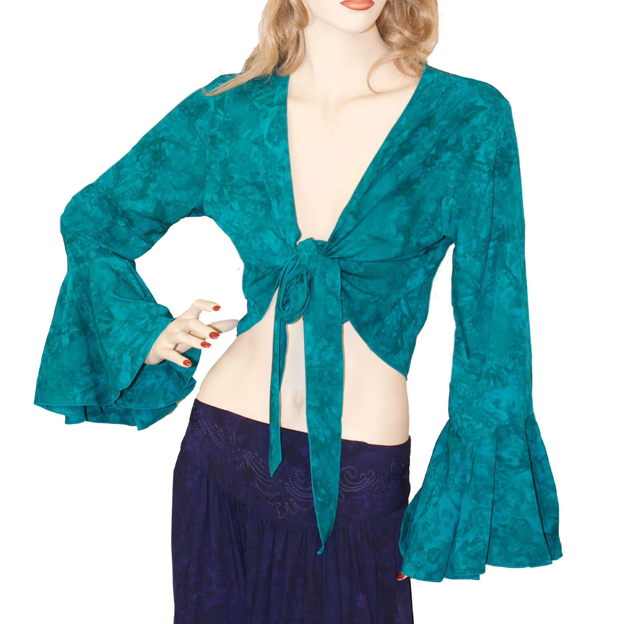 Womans Gypsy Top Renaissance Top Belly Dance Top  teal