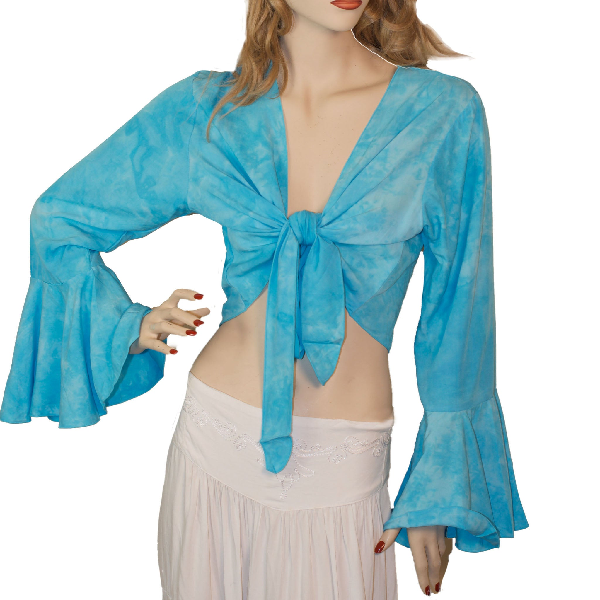 Womans Gypsy Top Renaissance Top Belly Dance Top Turquoise