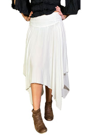 Renaissance skirt Fairy hem skirt White