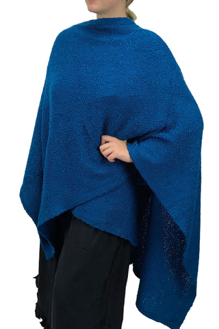 Womans throw wrap pancho knit wrap Blue