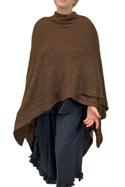 Womans throw wrap pancho knit wrap brown