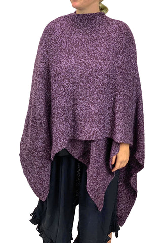Womans throw wrap pancho knit wrap Purple