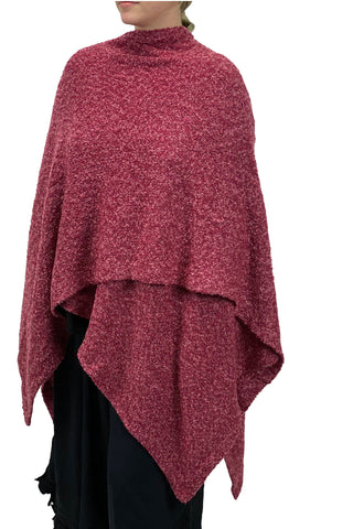 Womans throw wrap pancho knit wrap rose