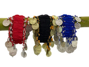 Belly dance wrist band stretchy coin anklets