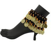 Belly dance wrist band stretchy coin anklets Black gold