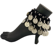 Belly dance wrist band stretchy coin anklets black silver